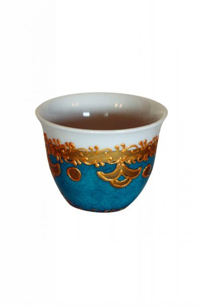 Embossed Turquoise and Gold Coffee Set Of 6