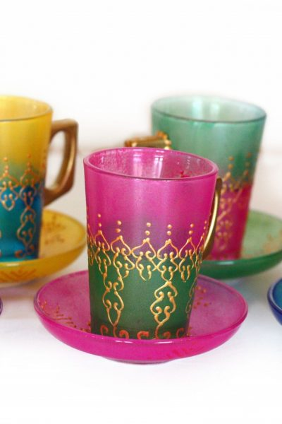 Multicolored Tea Set With Handles Set Of 6