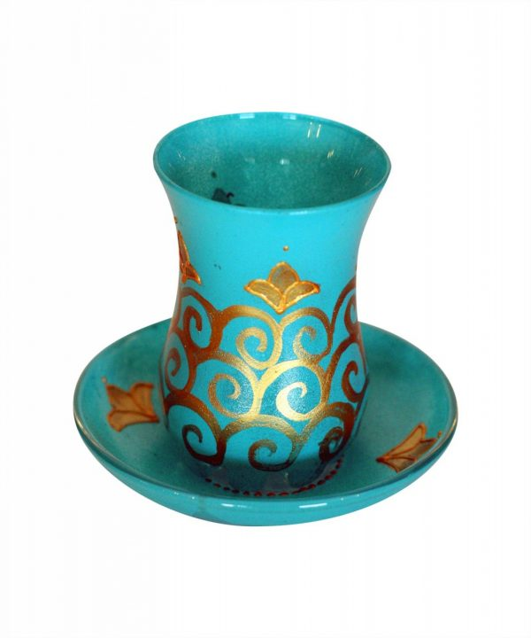 Glass Turquoise and Gold Tea Set Of 6