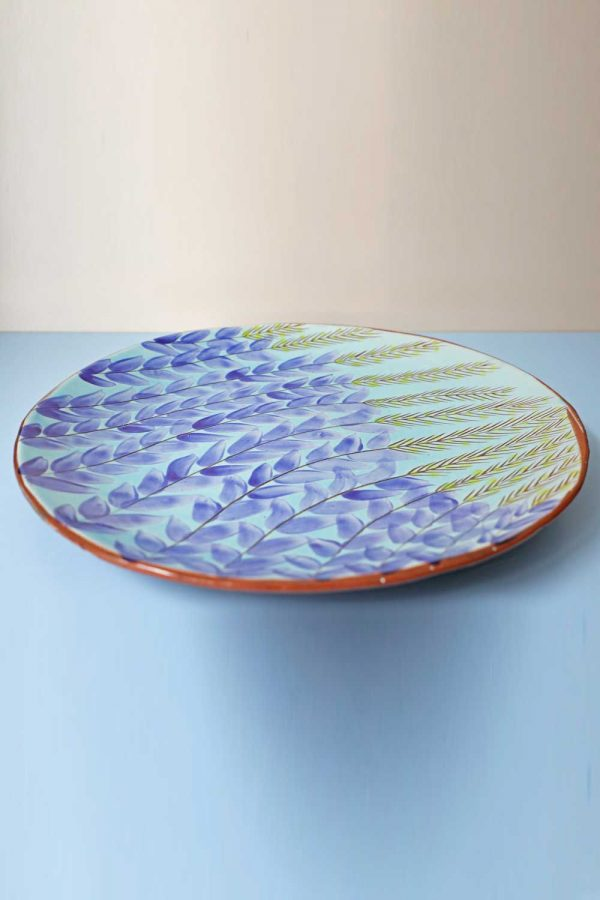 Large Blue Leave Plate By Bkerzay