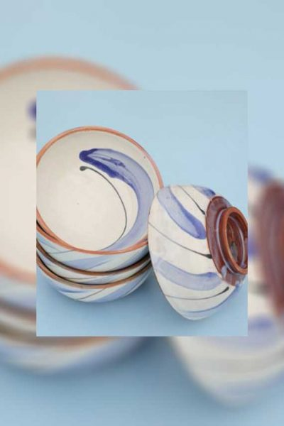 Set of 5 White Blue Glazing Bowls By Bkerzay