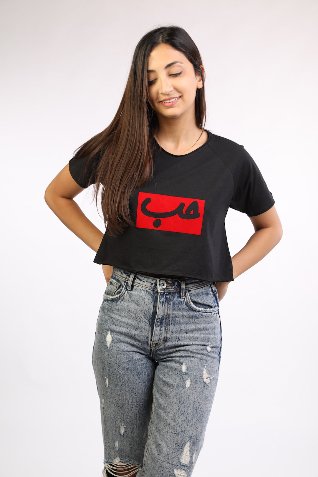 6a779813de4 Black Crop Top With Red Patch Hob - Lebelik
