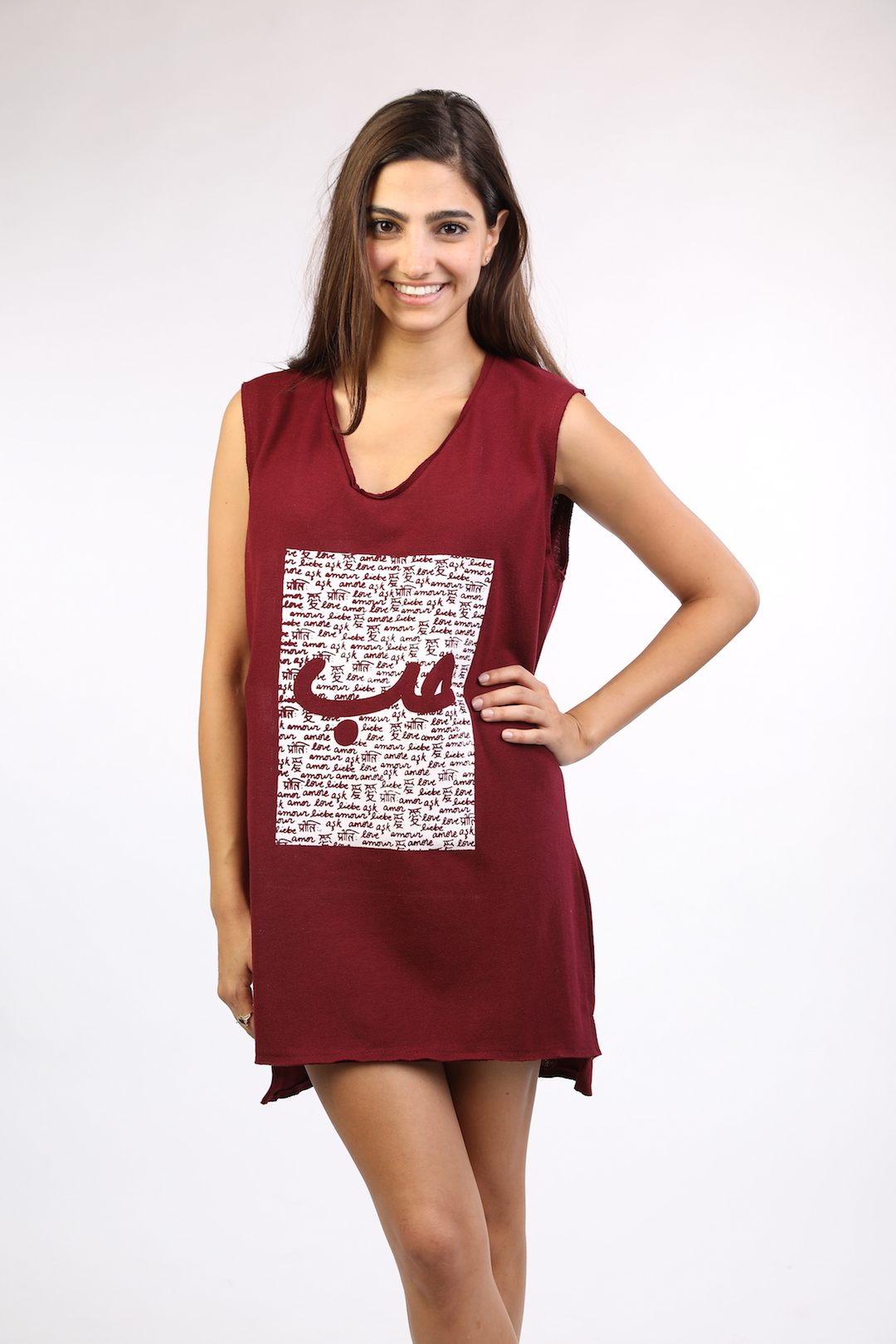 8ed86f69254 Burgundy Sleeveless Dress With White Patch Hob - Lebelik