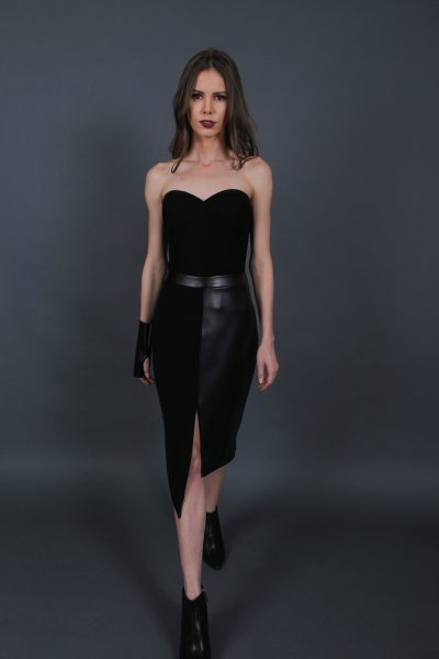 Black Asymmetric Duo Skirt