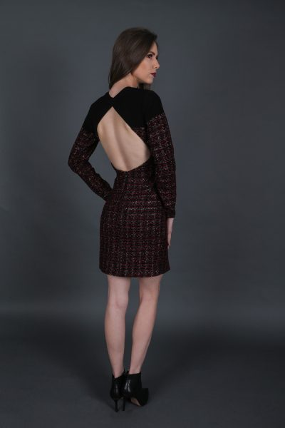Tweed Open Back Dress