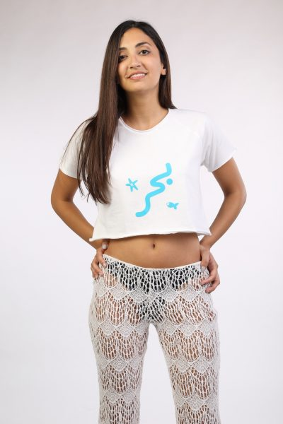 White Crop Top With Blue Baher Print