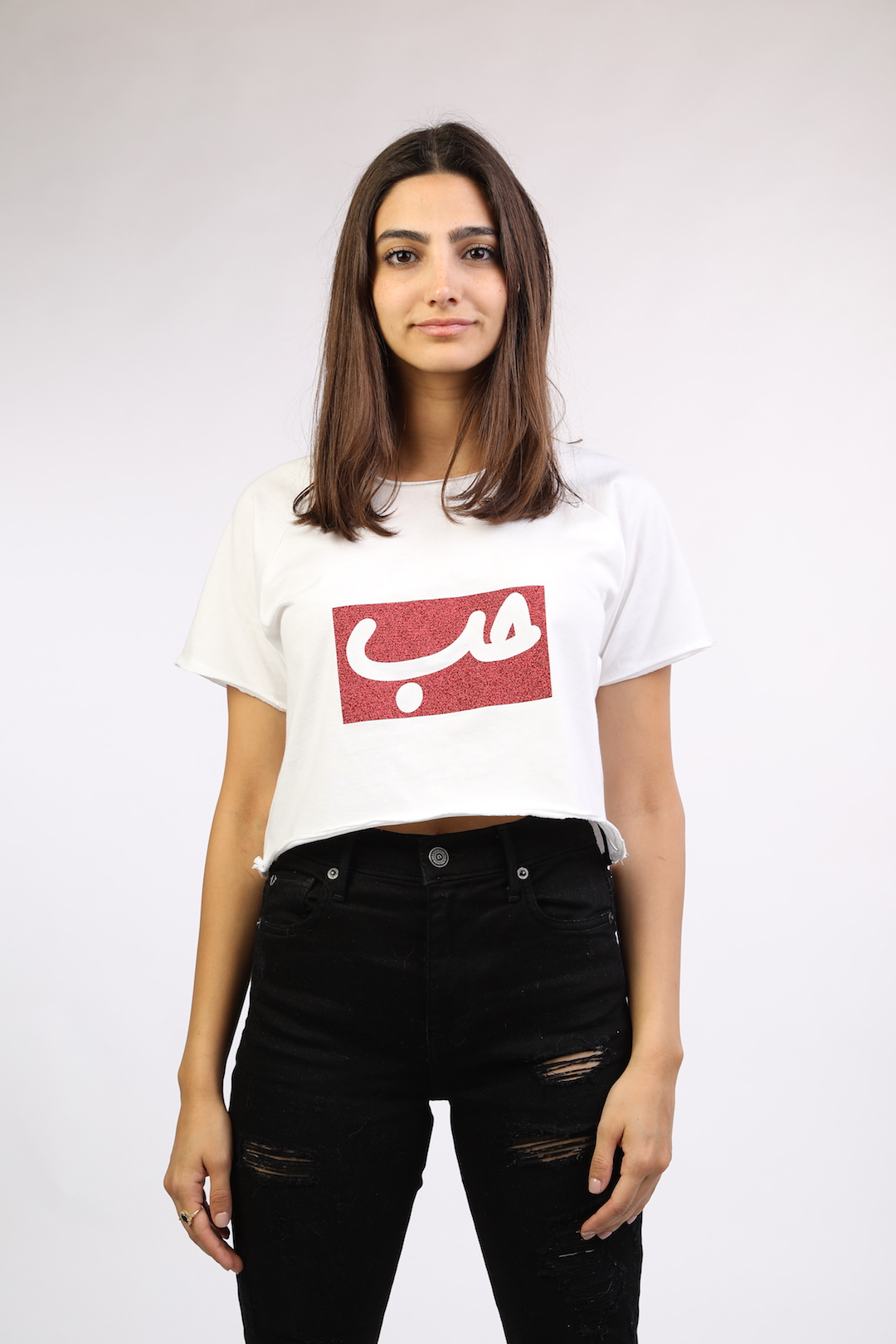 2c746ac8392 White Crop Top With Red Glitter Patch Hob - Lebelik