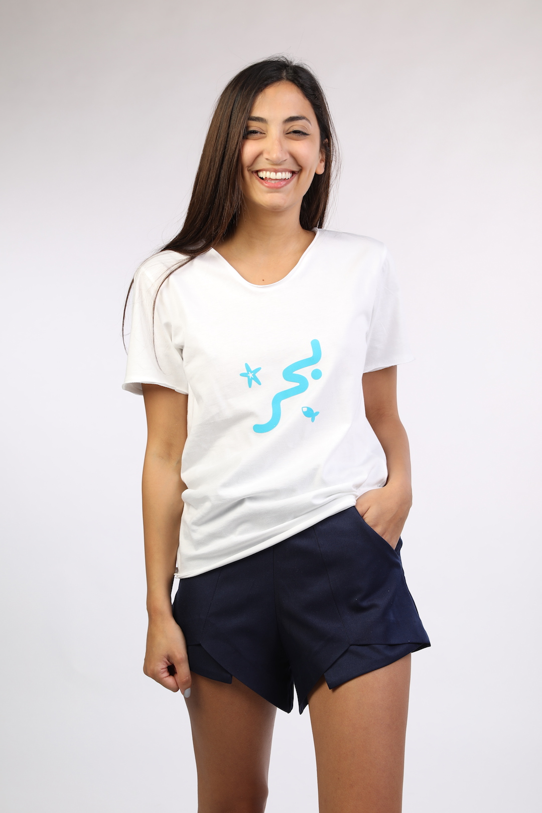 29458ef324a White T-shirt With Blue Baher - Lebelik