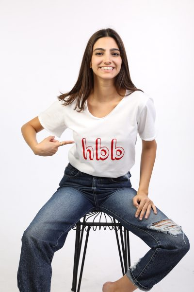 White T-shirt With Red hbb