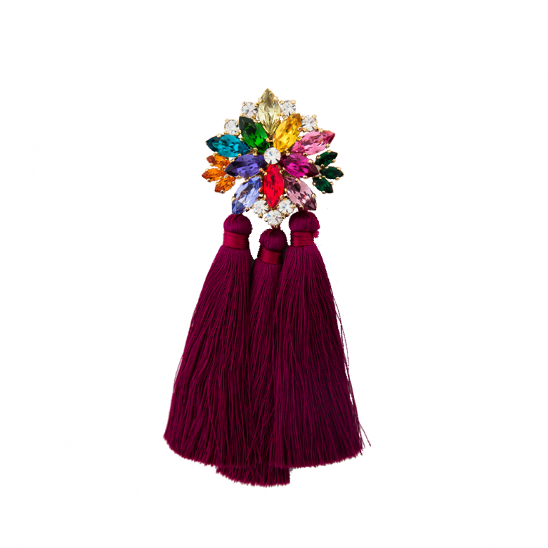 Rainbow With Tassels Brooch