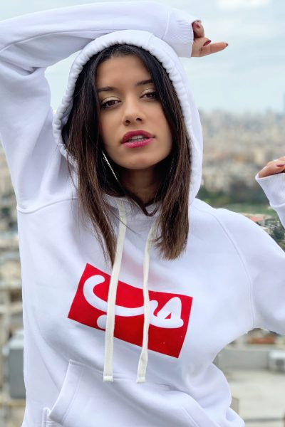 White Hoodie x Red Hob Patch