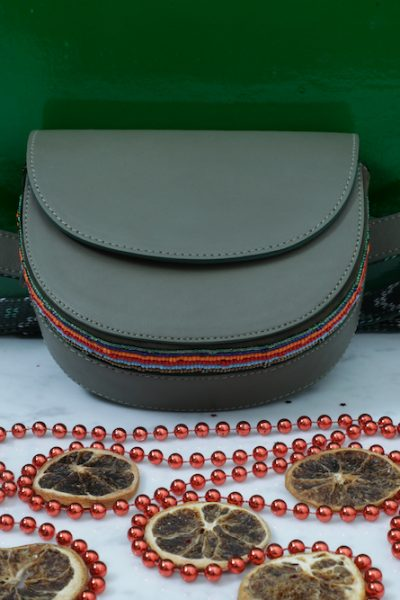 Hand Crafted Olive Green Beads Belt Bag