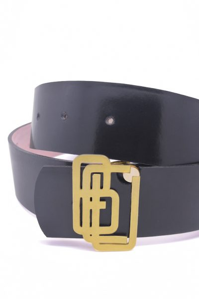 Genuine Leather Black Gold Plated Belt