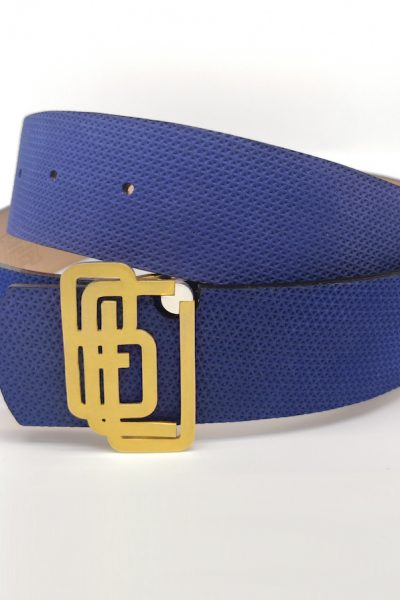 Genuine Leather Blue Gold Plated Belt