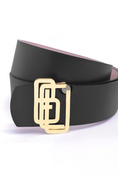 Genuine Leather Black Gold Plated Shiny Belt