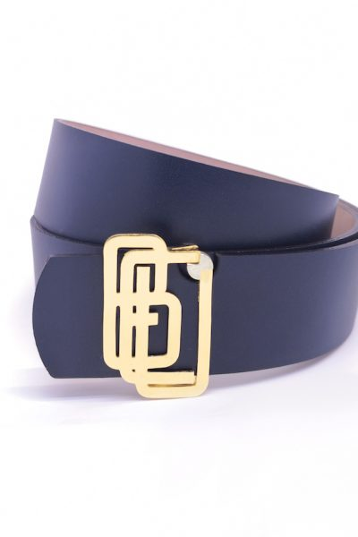 Genuine Leather Blue Gold Plated Shiny Belt