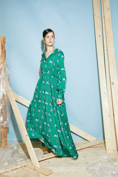 Seine Sun Moon Print Green Dress