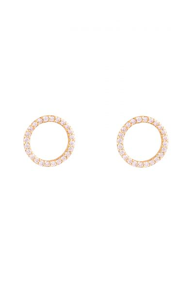 Circle of White Diamond Earring