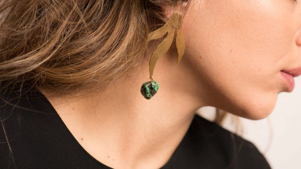 Earrings With Green Turquoise