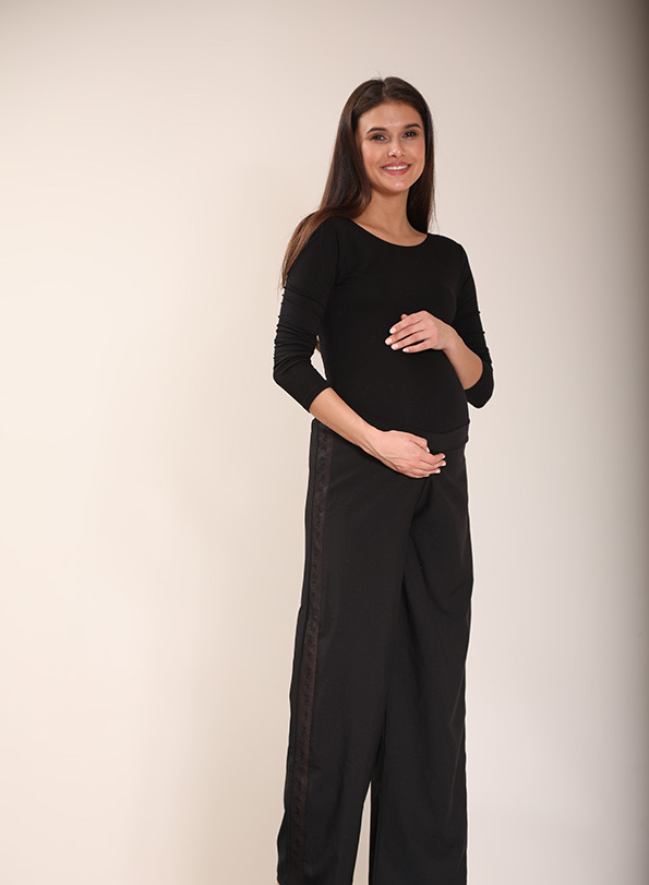 Black Relaxed Side Embroidered Pants