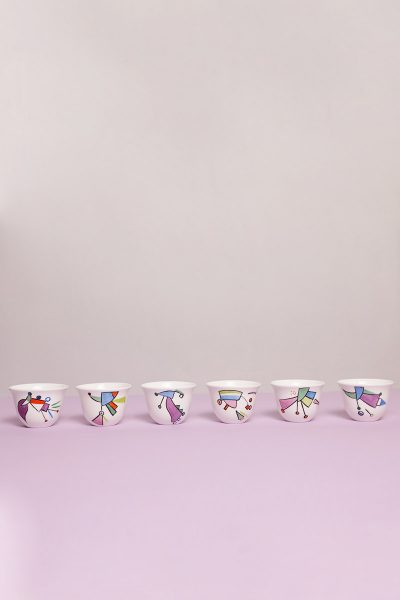 Set of Six Unique Coffee Cups Traditional
