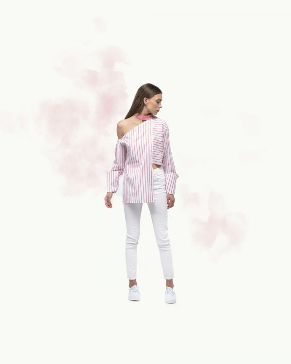 Pink Stripe Off The Shoulder Asymetric Shirt