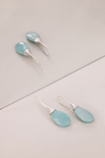 Blue Trompette Handmade Earrings