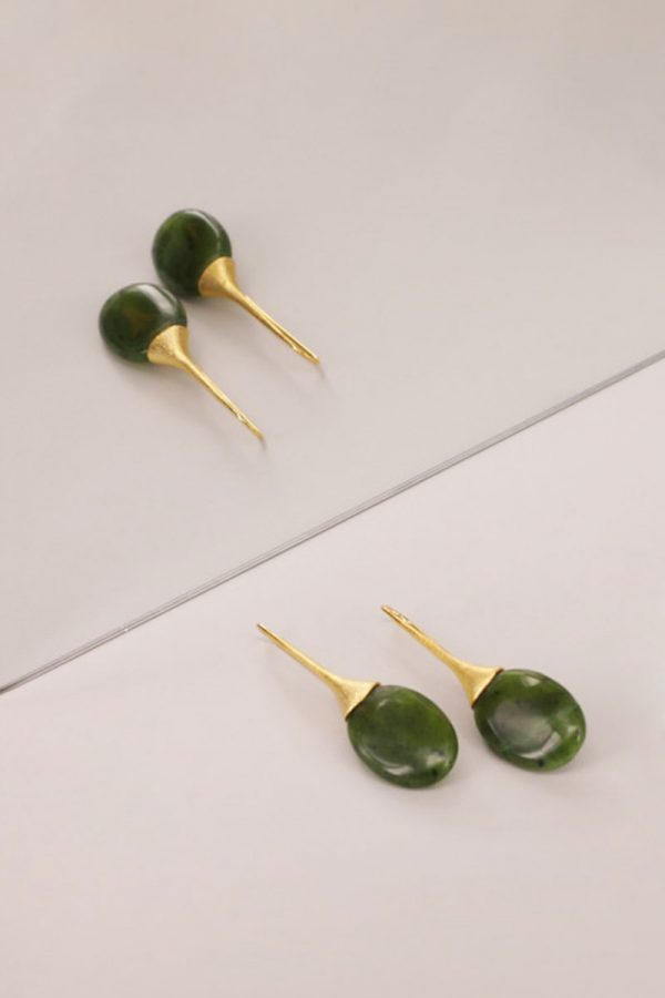 Green Trompette Handmade Earrings