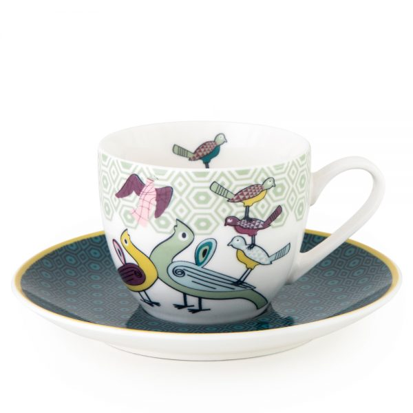 Cup With Saucer Birds of Paradise 90 ml -4 Pcs