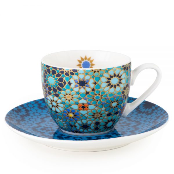Cup With Saucer Moucharabieh Blue- 4 Pcs