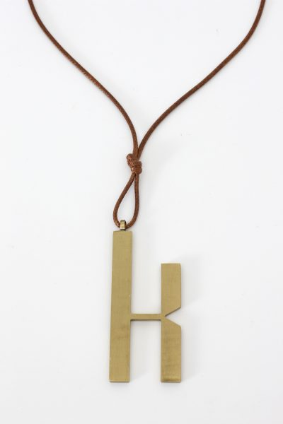 Alphabet Letter Brushed Brass Necklace