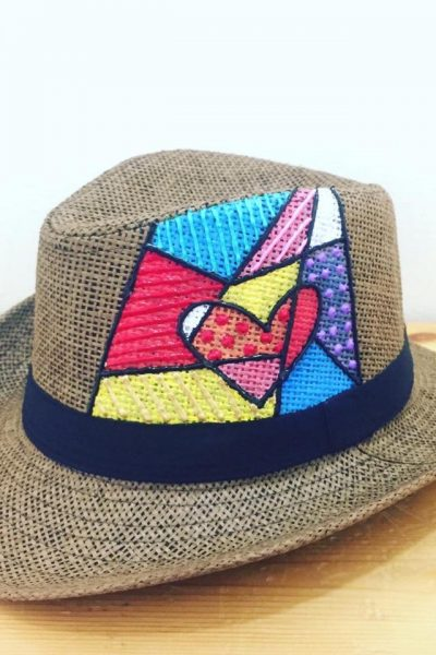 Heart Popup Brown Base Summer Hat