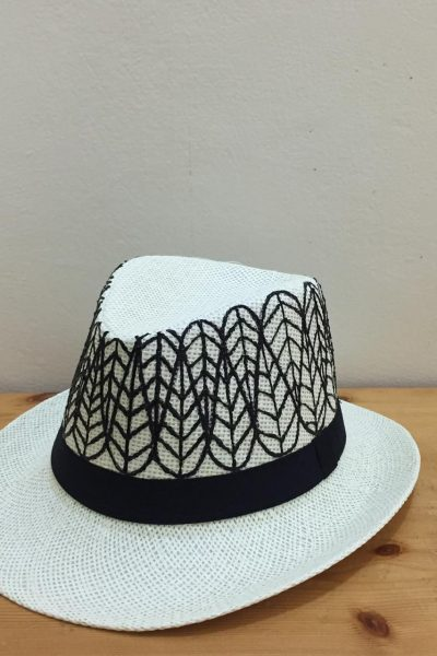 Black Stripes Hat White Base