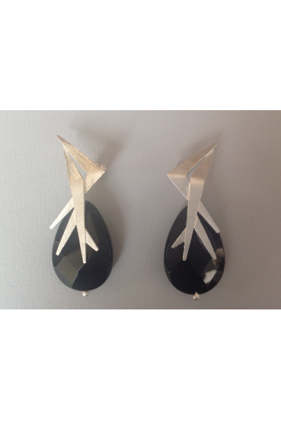 Bo Mika Silver Black Earrings