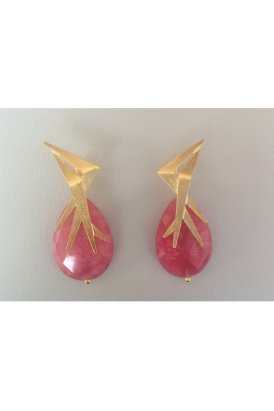 Bo Mika Gold Red Earrings