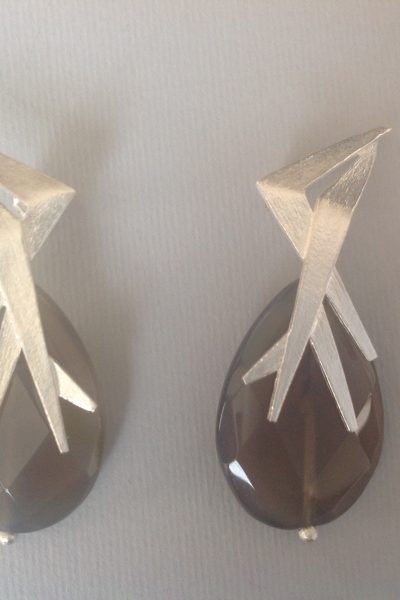 Bo Mika Silver Grey Earrings