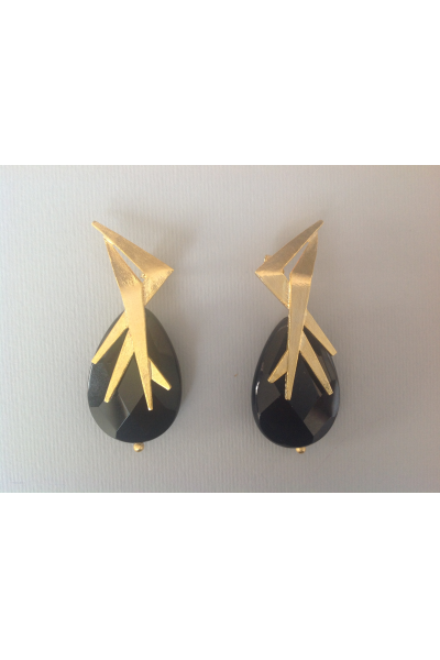 BO Mika Gold Black Earrings