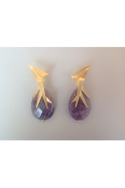 Bo Mika Gold Purple Earrings