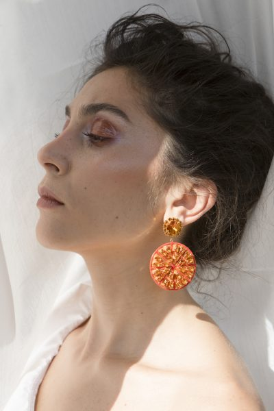 Half Orange Long Earrings