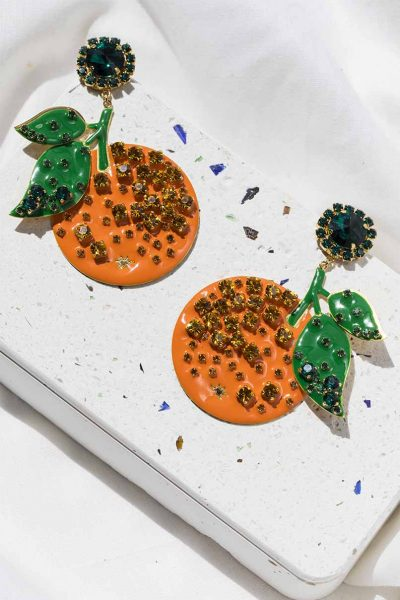 Orange Long Earrings