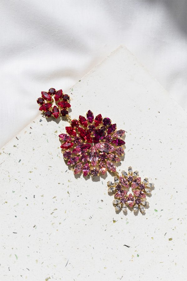 Pink & Red Bloom Long Earrings