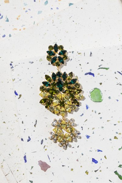 Green & Yellow Bloom Long Earrings