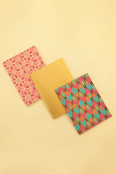 Pack of 3 Gold Pink Blue Notebook