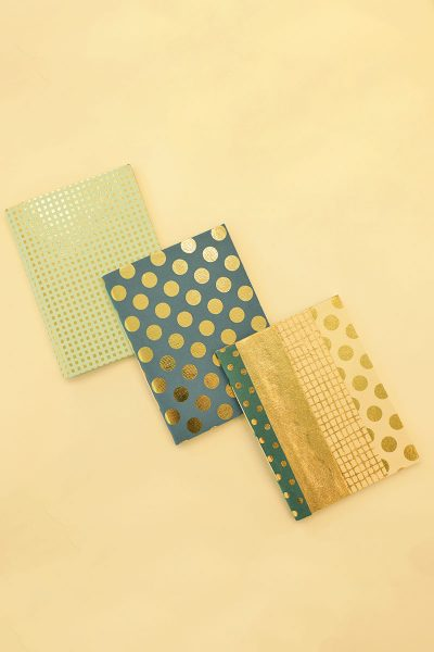 Pack of 3 Green Gold Dot Notebook