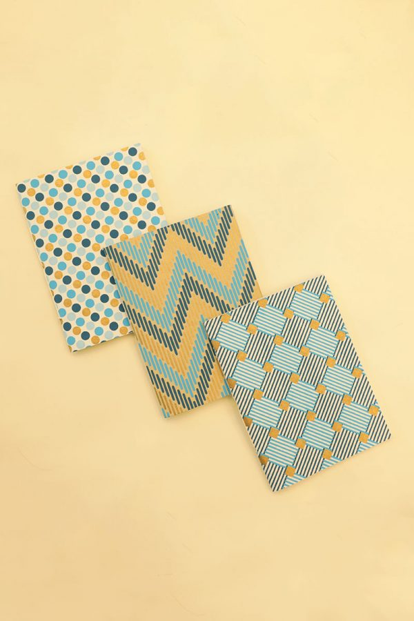 Pack of 3 Blue Gold Navy Notebook