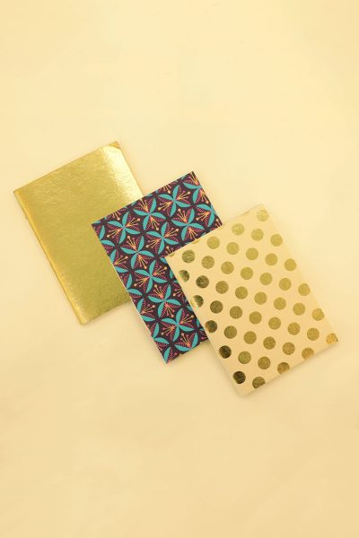 Pack of 3 Gold Notebook