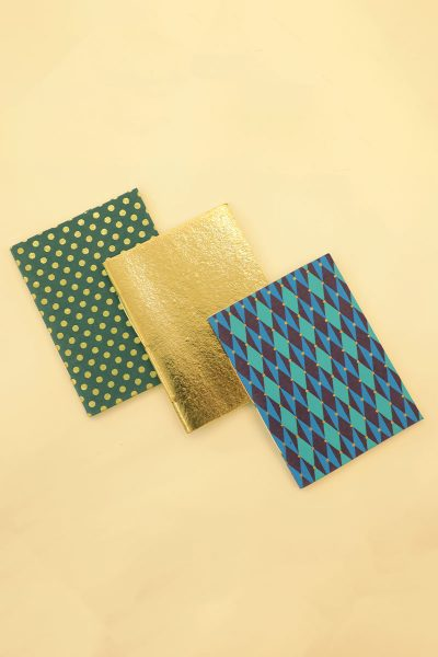 Pack of 3 Green Gold Notebook