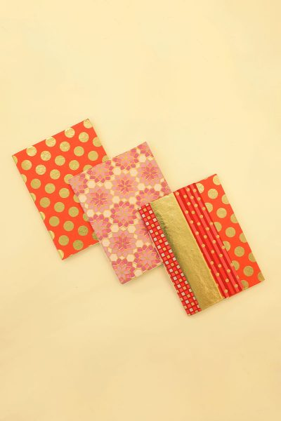 Pack of 3 Red Gold Notebook