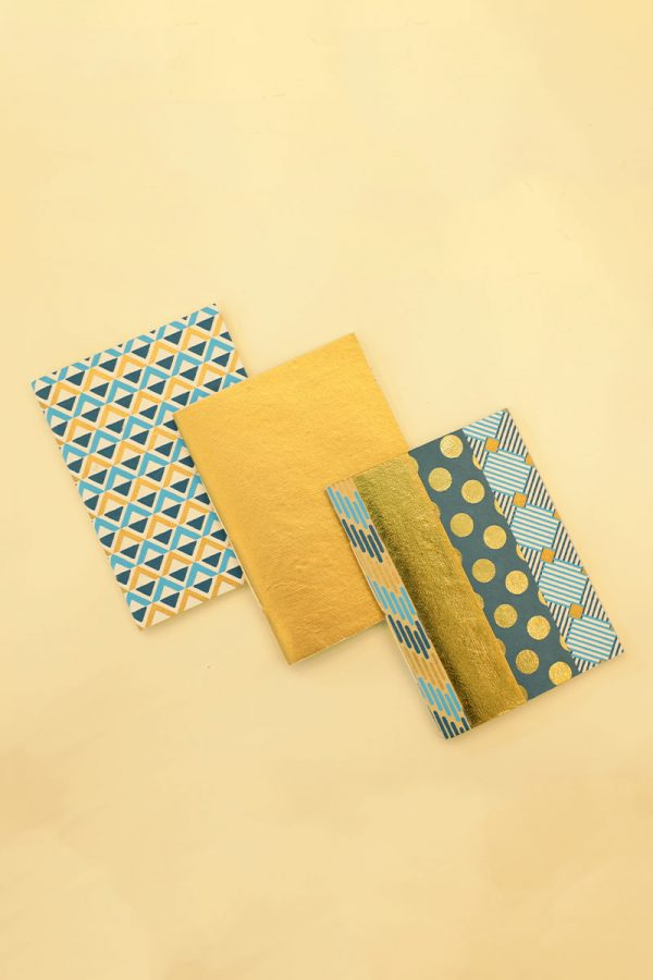 Pack of 3 Blue Gold Notebook