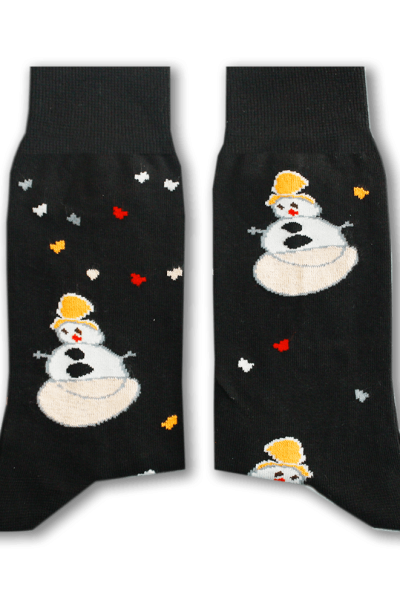 Black Snowman Socks